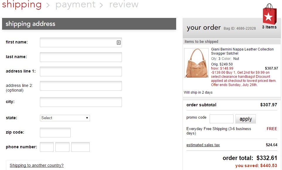 E-Commerce Checkout Process Case Study : Macy's Website - M ...