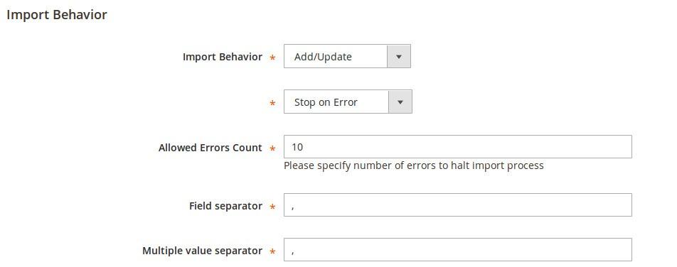 Import Behavior section