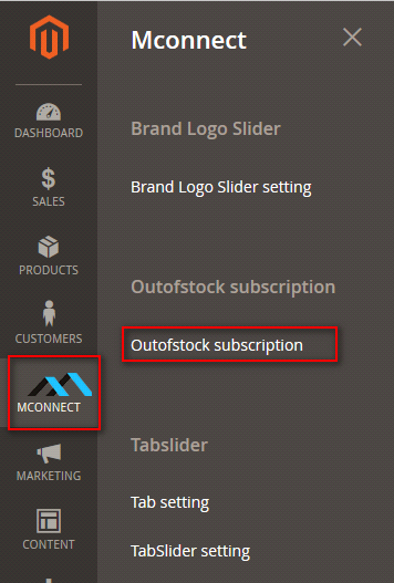 Find Mconnect in OutofStock subscription settings