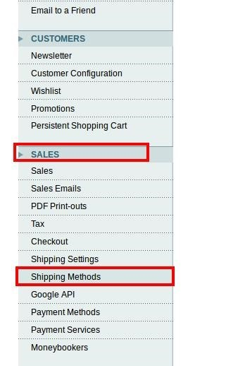 Navigate To Sales and Shipping Method