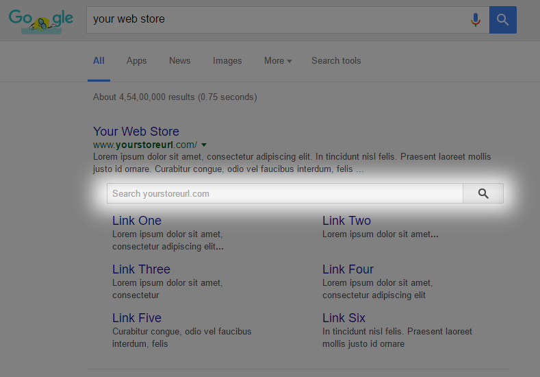 Rich snippets for Search box