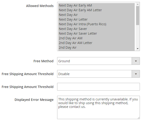 : Allot the allowed shipping method