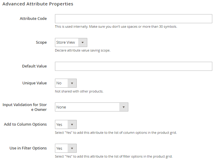 Set Advance Attribute Property
