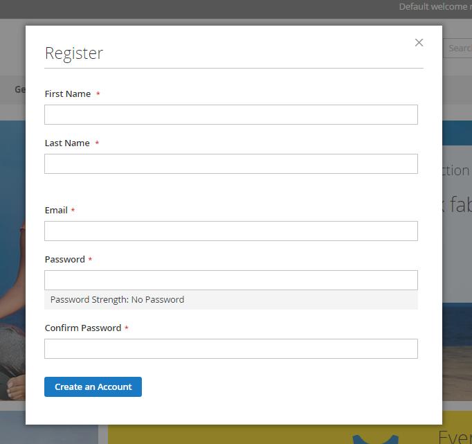 Register Form at Storefront