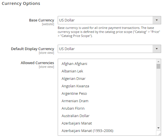 Click on Currency Options