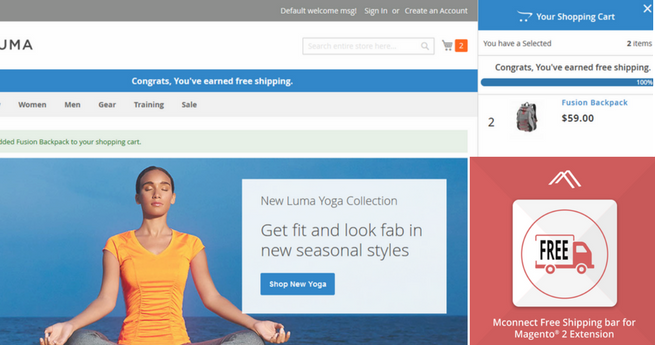 Mconnect Free Shipping Bar Extension for Magento 2